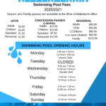 Swimming Pool 20-21 Season Fees & Opening Hours!
